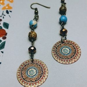 Mandala & Bead Drop Earrings